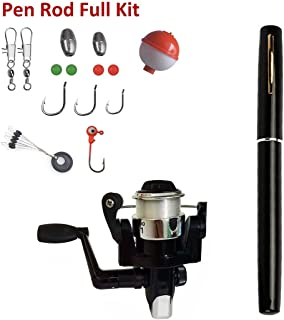 Pen Fishing Rods Mini Telescopic Kids Fishing Pole Survival Tool Spinning Reel with Hooks Lures etc