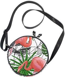 Emoya Damen Handtasche mit rosa Flamingo-Vögeln, tropische Palmenblätter, Segeltuch, Kreis, Handtasche für Damen und Mädchen