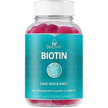 Biotin Gummies 10,000mcg Highest Potency, Hair Growth, Supports Healthier Hair, Skin and Nail, Vegan, Pectin Based, Strawberry Flavor, 80 Count