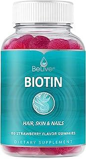 Biotin Gummies 10,000mcg Highest Potency, Hair Growth, Supports Healthier Hair, Skin and Nail, Vegan, Pecti...