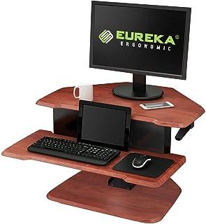"Eureka Ergonomic 28"" Height Adjustable Sit-Stand Desk, Corner Desk - with Keyboard Tray Cherry"