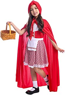 Girls Little Red Riding Hood Costume, Role Play 2pcs Set (Dress and Hood Cape) for Halloween