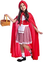 Siyimue Girls Little Red Riding Hood Costume, Role Play 2pcs Set (Dress and Hood Cape) for Halloween