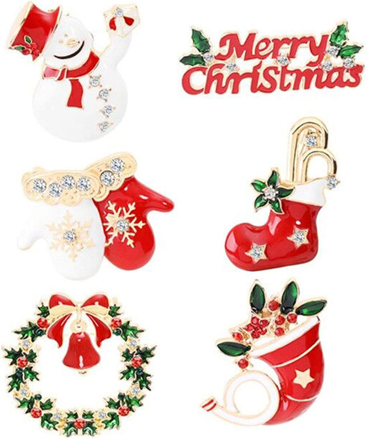 HMOOY Christma Pin Brooch Set Decoration Merry 6 Santa OFFer excellence