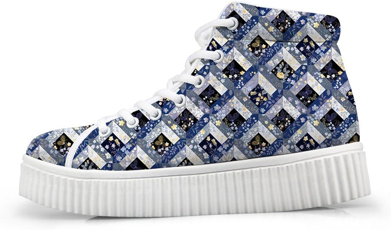 Mumeson Fashion Comfort Platform Sneaker High Top shoes Flats for Women US 7