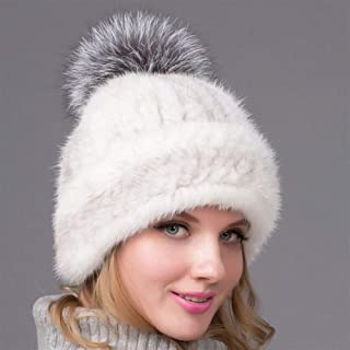 Guomao The New European and American Female Winter Hat Knitted Mink Fur Hat Fashion Black Fox Mink Hair Ear Cap Wild Mink Cashmere Knit Hat (Color : Gray)