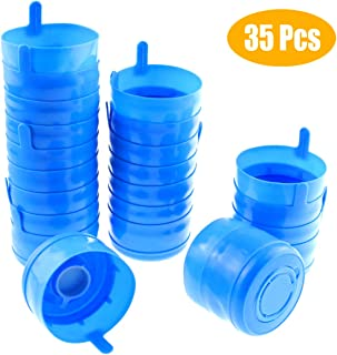 Jyongmer 35PCS Non Spill Cap Anti Splash Bottle Caps 55mm 2, 3 and 5 Gallon Water Jug, BPA-Free Bottle Caps, Replacement Water Bottle Snap On Cap Anti Splash Peel