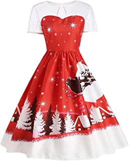 Tian-G Women's Vintage Christmas O-Neck Printed Short Sleeve A-Line Swing Dress Christmas Short Sleeves and Knee-Length Skirts