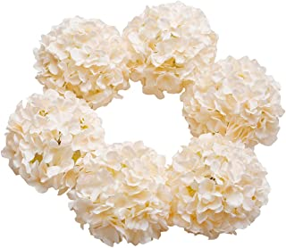DuHouse Silk Hydrangea Heads Large Artificial Flowers with Stem Fake Champagne Flower Heads for Wedding Centerpiece Home Decor Pack of 6