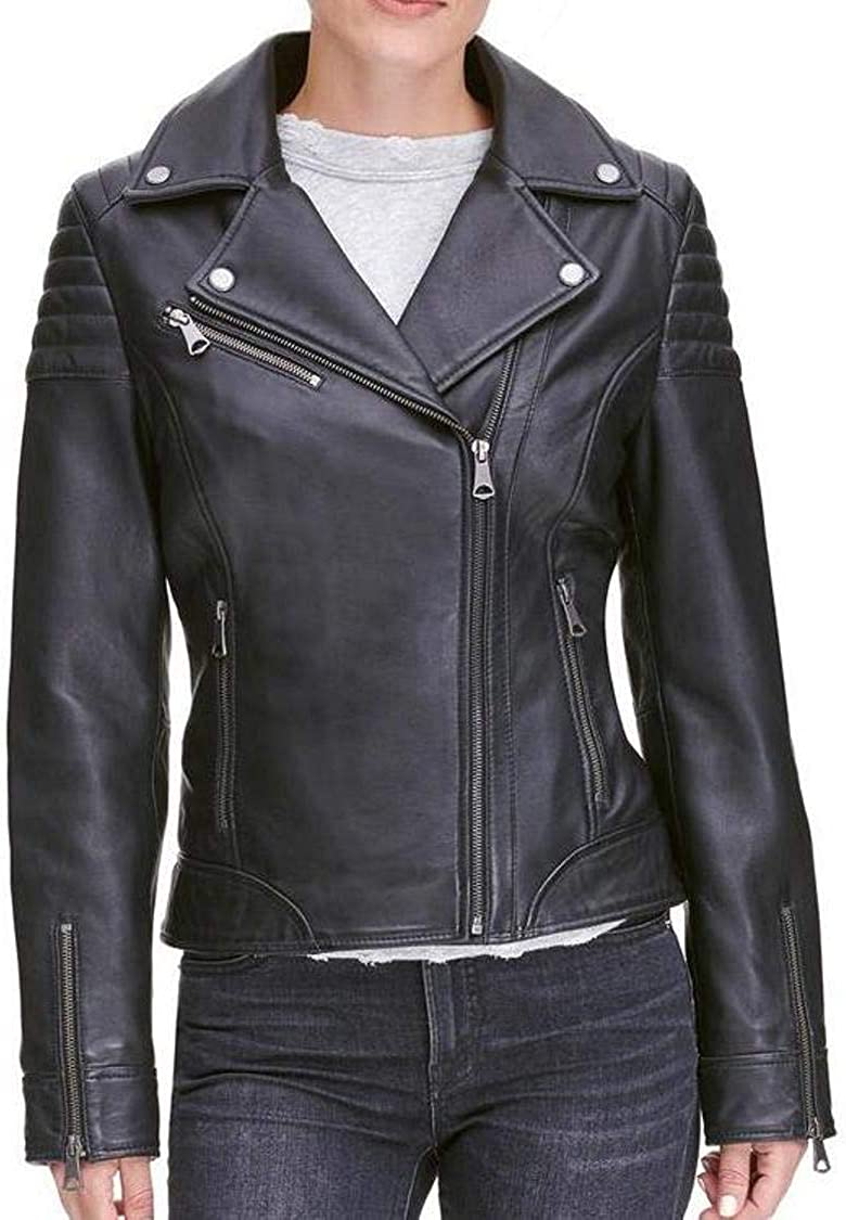 Leather N Leather Women Genuine Lambskin Black Quilted Leather Moto Biker Jacket