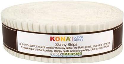 Robert Kaufman Skinny Strips Kona Solids Snow Colorway 40Pcs 1 2in