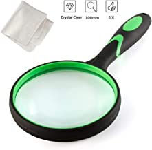 Large Magnifying Glass 5X Good Hand Held Magnifying Glasses Bulk 100MM 4INCHES for Kids Seniors Book Newspaper Reading, Insect and Hobby Observation, Classroom Science