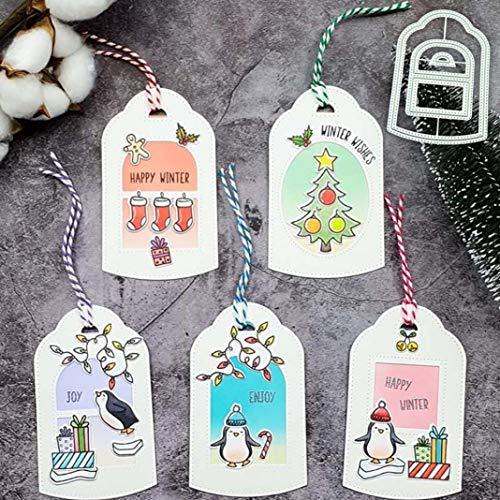 Plantillas de corte de metal, etiquetas de Navidad, plantillas para repujado, manualidades, álbumes de recortes, tarjetas de festivales, moldes para manualidades, decoración de regalo