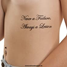 5 x Never a Failure, Always a Lesson - Temporary Skin Tattoo Lettering in Black (5)
