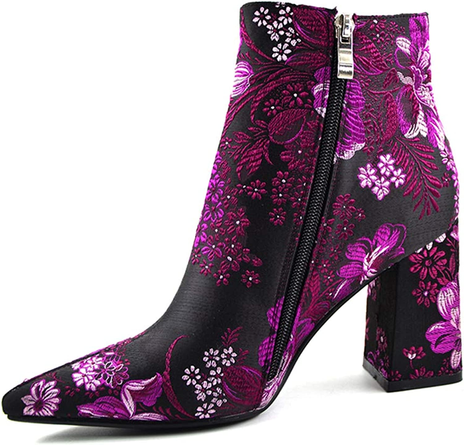 Ankle Boots Women Pointed Toe Elegant Embroidery Haft Short Winter shoes