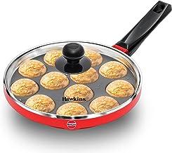 HAWKINS Nonstick Appe Pan with Glass Lid, 12 Cups, Diameter 22 cm, Black (NAPE22G), Standard