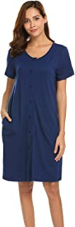 Women's Sleepwear Scoop Neck Nightshirt Cotton Nightgown Button Down Loungewear S-XXL