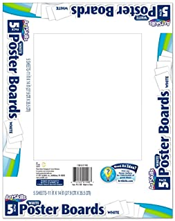 """ArtSkills PA-1508 White Poster Boards, 11"""" x 14"""", Pack of 5"""