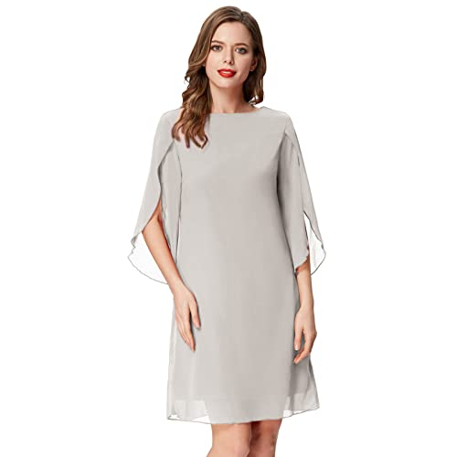 4eb0fdc472 GRACE KARIN Women Loose Chiffon Dress 3 4 Sleeve Evening Dress for Cocktail  Party
