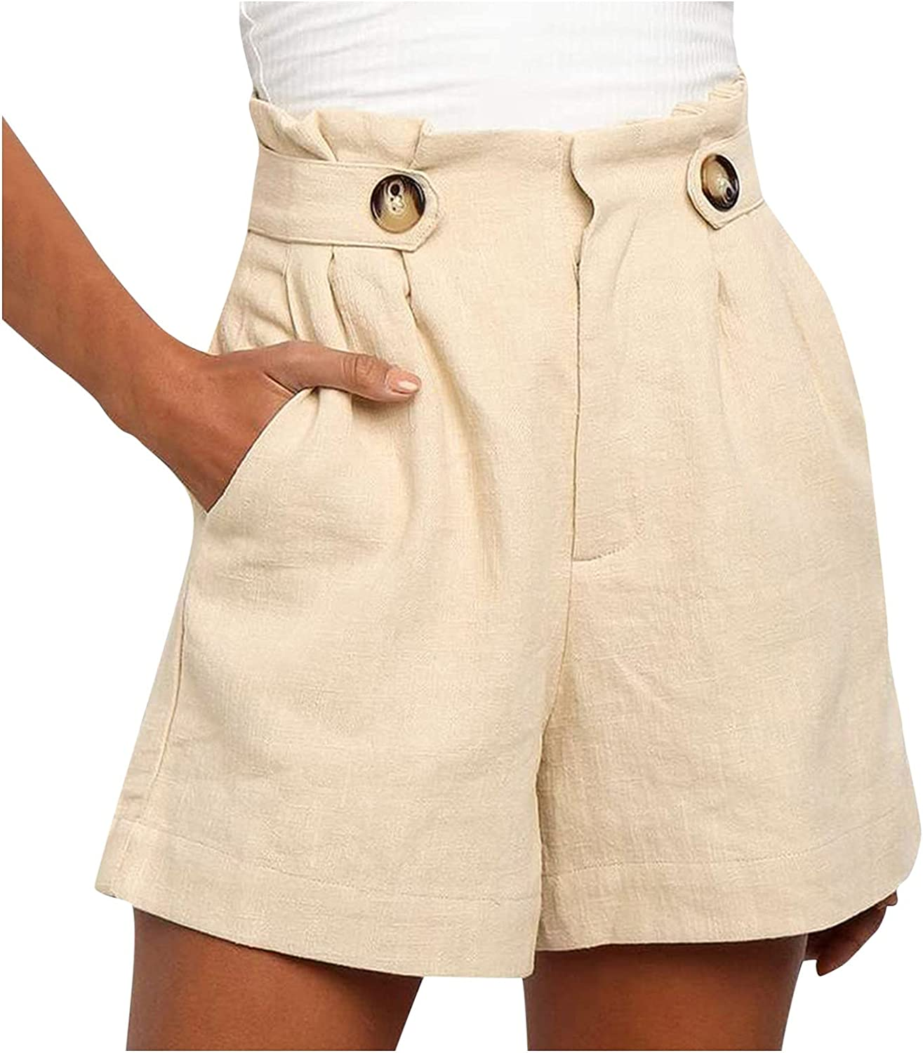 KEJINKCSEE Popular product Women Casual Superior Shorts with El Pockets Waist High Button