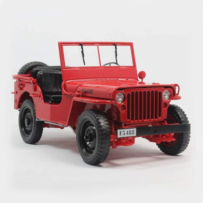 AGWa Modellbau Simulation Fahrzeug Rot Simulation Jeep Modell High Imitation Alloy Classic 1 18 Statische Modellreihe Schmuck Geschenk Dekoration