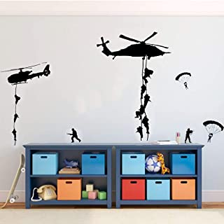 PICTURE IT ON CANVAS Soldiers Parachuting from Helicopters for Kids Playroom, Children, Military Families Army Wall Decals