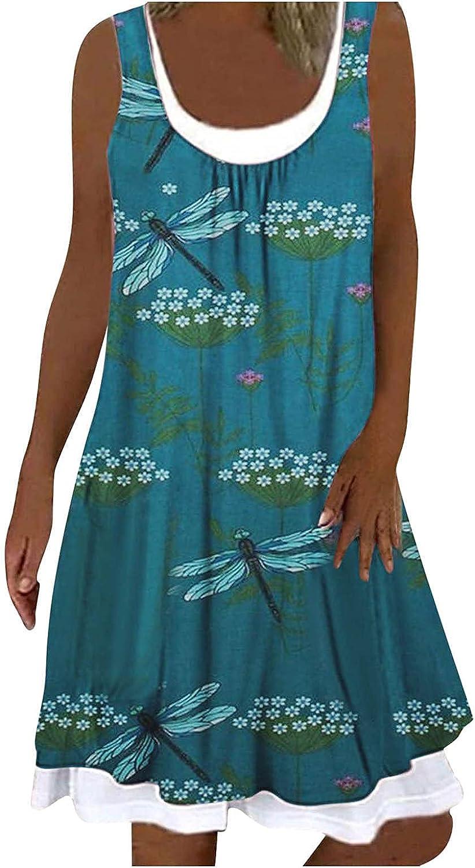 Sinzelimin Dress for Women's Casual Midi Dress Summer Fashion Boho Floral Dress Round Neck Sleeveless Splicing Dress