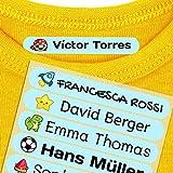 Haberdashery Online 50 Etichette termoadesive Personalizzate, di 6 x 1 cm, per contrassegnare i Vestiti. Colore Blu Pastello (per Il Ferro)
