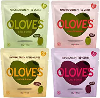 OLOVES Natural Whole Pitted Olives | 24 Pack Variety | Basil & Garlic, Chili & Oregano, Lemon & Rosemary | Vegan, Kosher, ...