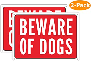 Beware of Dog Sign, Metal Warning The Dogs Signs for Fence Gate, 2 Pack 10 x 7 inches, for Indoor and Outdoor Use, No Fade Aluminum Weatherproof Long Lasting Red Ink