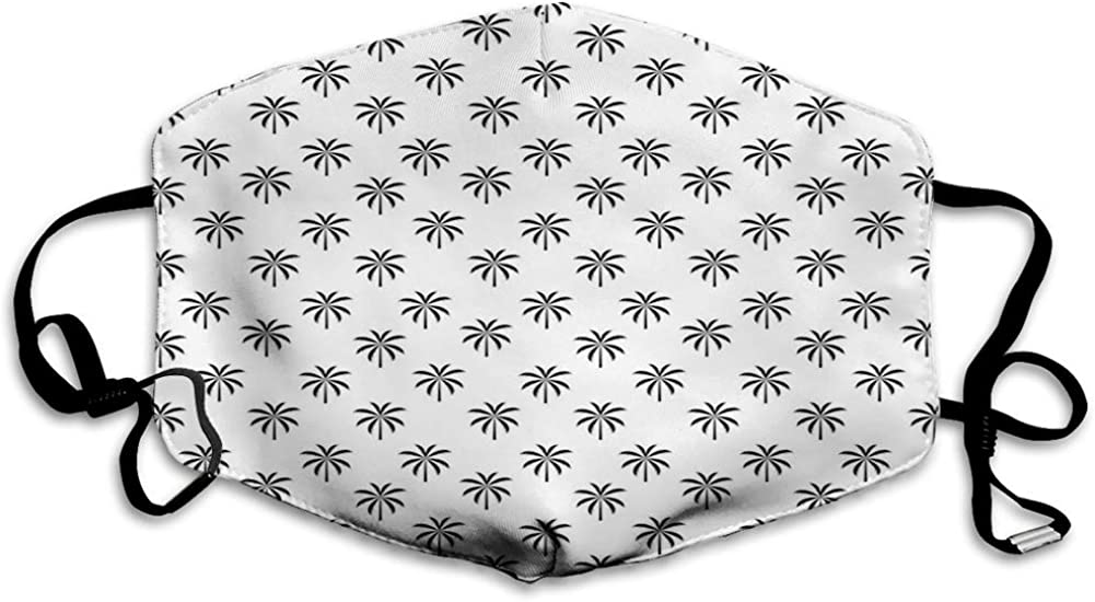 Dustproof Face Mask,Reusable,Washable Cloth,Face Cover,Cover for Dust Adult Black Coconut Trees Exotic Grassland Rainforest of Tropic Climate Theme