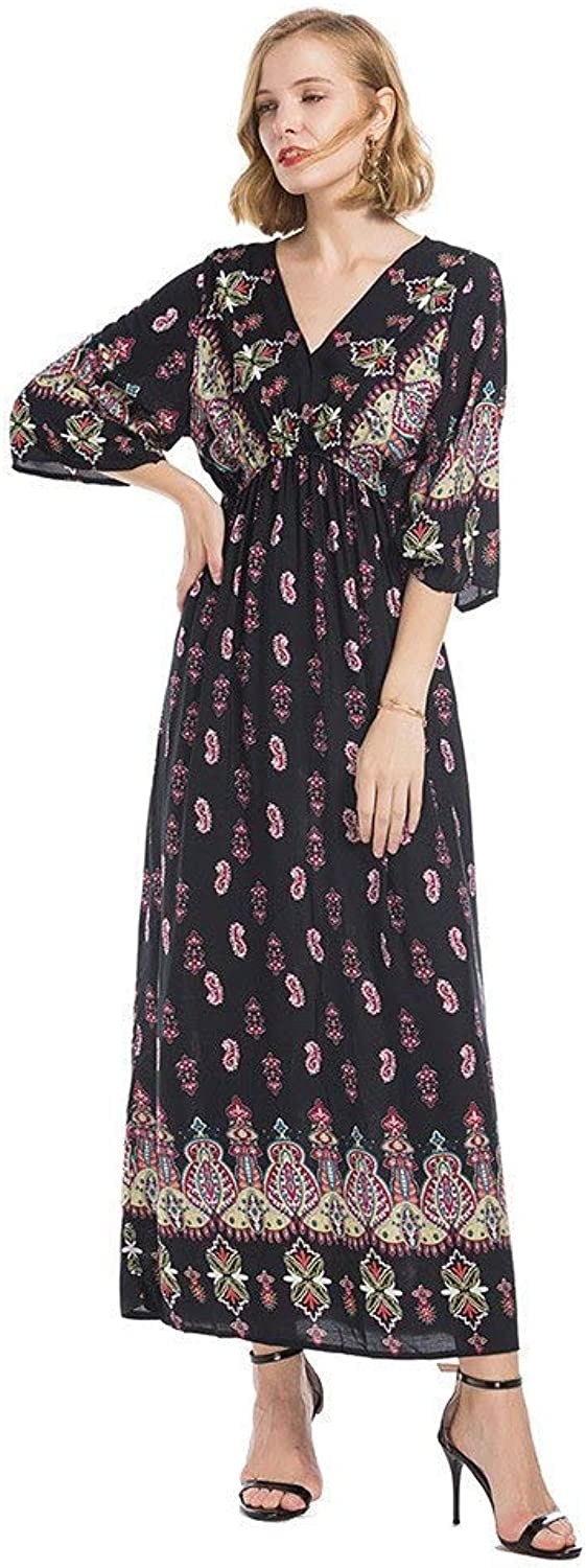 SKBOOS dress Feitong 2019 Women National Style V-neck Positioning Print Half Trumpet Sleeves Long Maxi Autumn Vintage