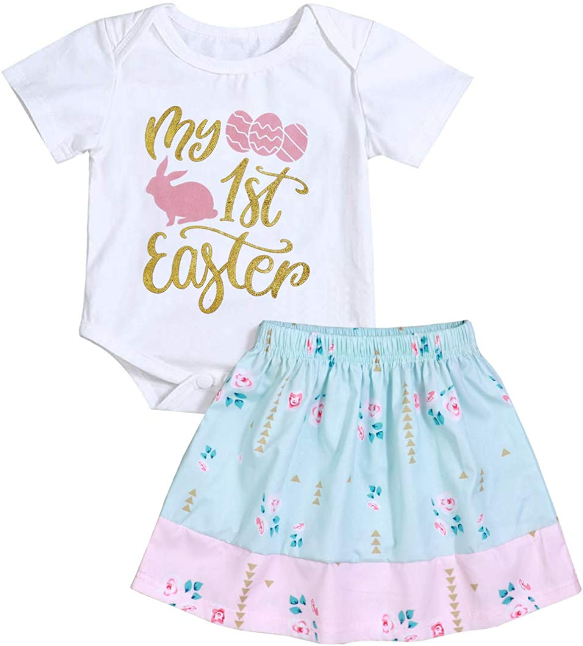 Floral Tutu Skirt 2pcs Clothing Set Newborn Infant Baby Girl My 1st Easter Outfit Bunny Print Romper Bodysuit