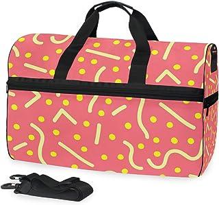 MONTOJ Reisetasche mit niedlichen verschiedenen gelben Linien, übergroß, Segeltuch, Reisetasche, Reisetasche