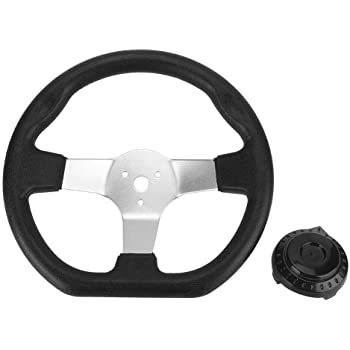 270mm Interior Vehicle 3 Spokes for Go Kart Steering Wheel PU Foam with Holes YIHOME Go-Kart Steering Wheel with Cap for Kandi