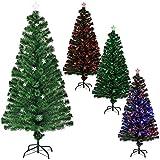 [en.casa] Árbol de Navidad (Artificial) Iluminado Color con Soporte - Fibra de Vidrio - Fibra óptica 180cm x Ø 80cm (200 Puntas iluminadas)