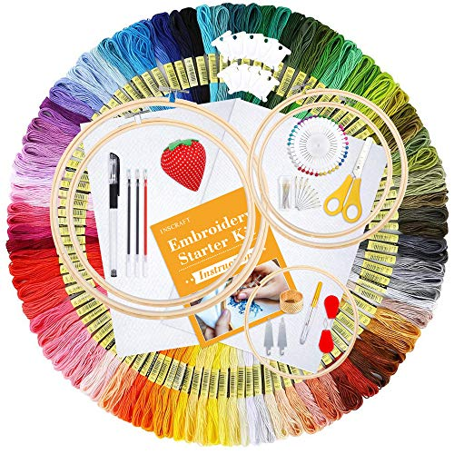 Inscraft Embroidery Starter Kit, 304 Pack Embroidery Kit Including 200 Color Threads, 5 Pcs Bamboo Embroidery Hoops, 2 Pcs Aida Cloth, Instructions and Packing Bag for Adults Kids Beginners