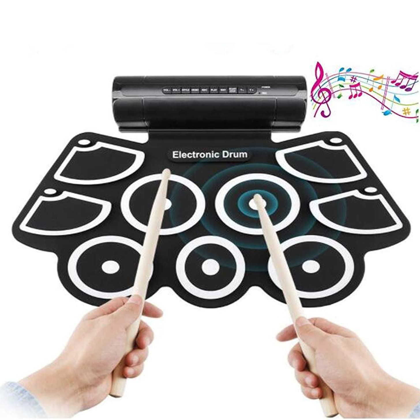 Electronic Drum Set, 9 Pads Electric Drum Set with Headphone Jack, Built in Speaker, Drum Stick, Foot Pedals & MP3 Headphone Input Best Gift for Christmas Holiday Birthday