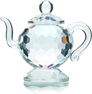 H&D Crystal Teapot Figurine Chinese Collection Ornament Home Office Decor 1.7-Inch