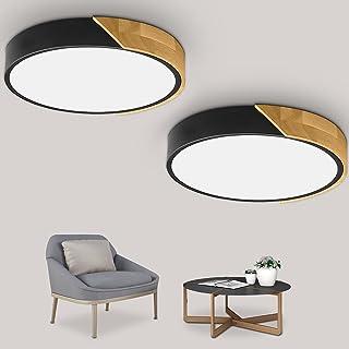 Kambo LED Plafonnier 24W, 2 x Blanc Froid 6000K Lampe Led Plafond 2400LM, Luminaires Intérieur Plafonnier led Fer et Chên...
