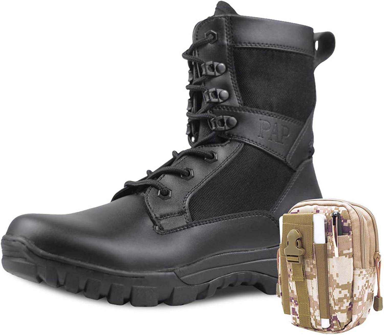 PANY Men's Military Boots Commando Light Jungle Work Boots Desert Tactical Boots with Military Waist Bag