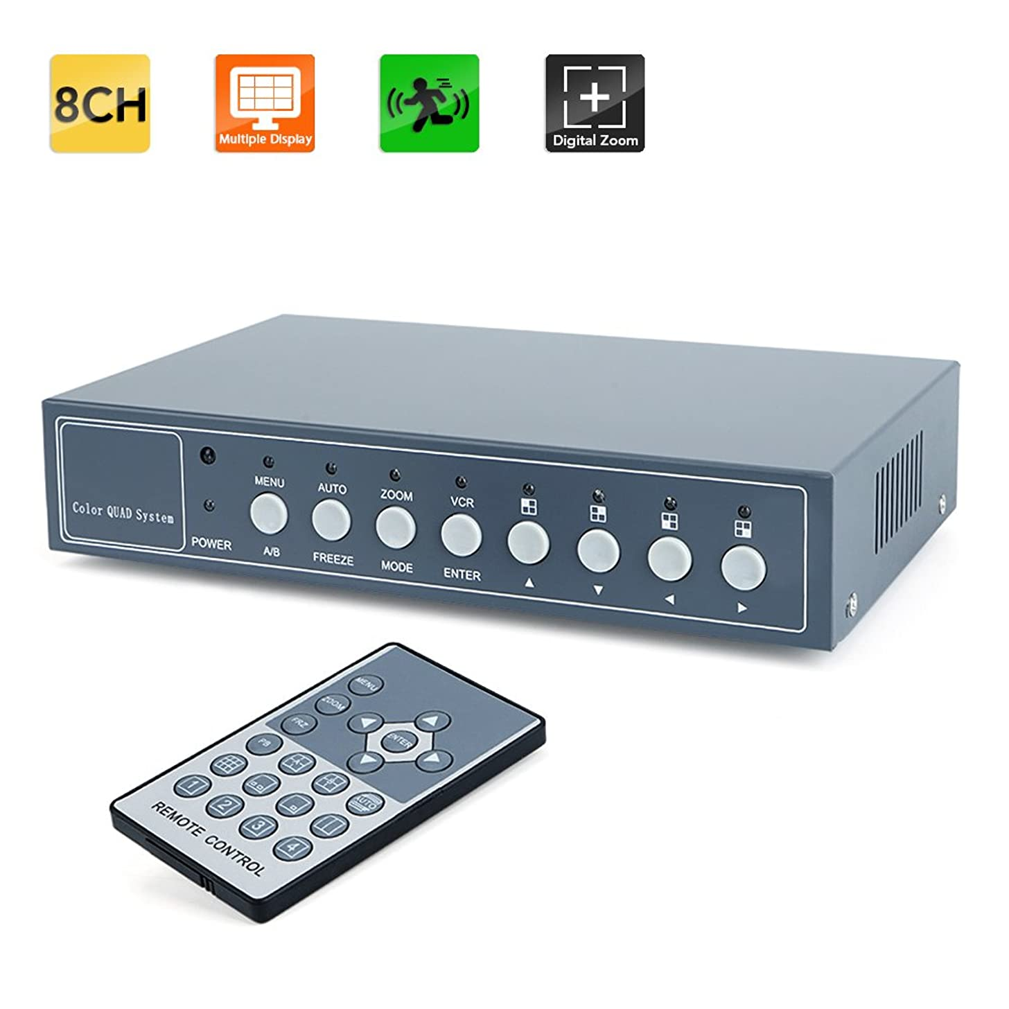 Toughsty? 8Ch Color Non-Realtime Video Quad Processor CCTV Security Video Splitter with Audio & PIP