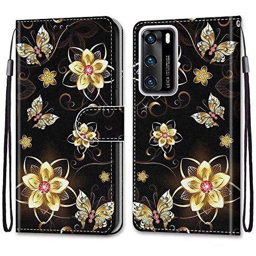Nadoli Bunt Leder Hülle für Huawei P40,Cool Lustig Tier Blumen Schmetterling Entwurf Magnetverschluss Lanyard Flip Cover Brieftasche Schutzhülle mit Kartenfächern