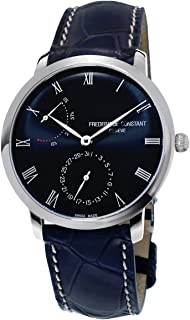 Frederique Constant FC-723NR3S6 Slimline Power Reserve Manufacture Stainless Steel Blue Dial