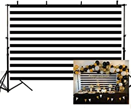 MEHOFOTO Black and White Stripes Photography Backdrop Props Happy Birthday Party Decorations Banner Photo Studio Booth Background 7x5ft