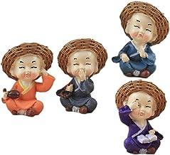 Prettyia 4Pcs Monk Statues Buddha Figurines Sculpture Resin Car Dashboard Table Decor