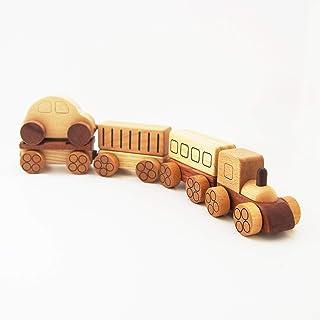 スプソリ 木のおもちゃ 汽車おもちゃ 木製 磁石で連結 乗用車 レッカー 荷台 貨物つき4連セット