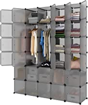LANGRIA 30-Cube Storage Organizer Large Gray DIY Stackable Easy Assemble Plastic Steel Frame Decorative Modular Clutter-Free Closet Yarn Stash Wardrobe for Homes, Living Rooms, and Gardens