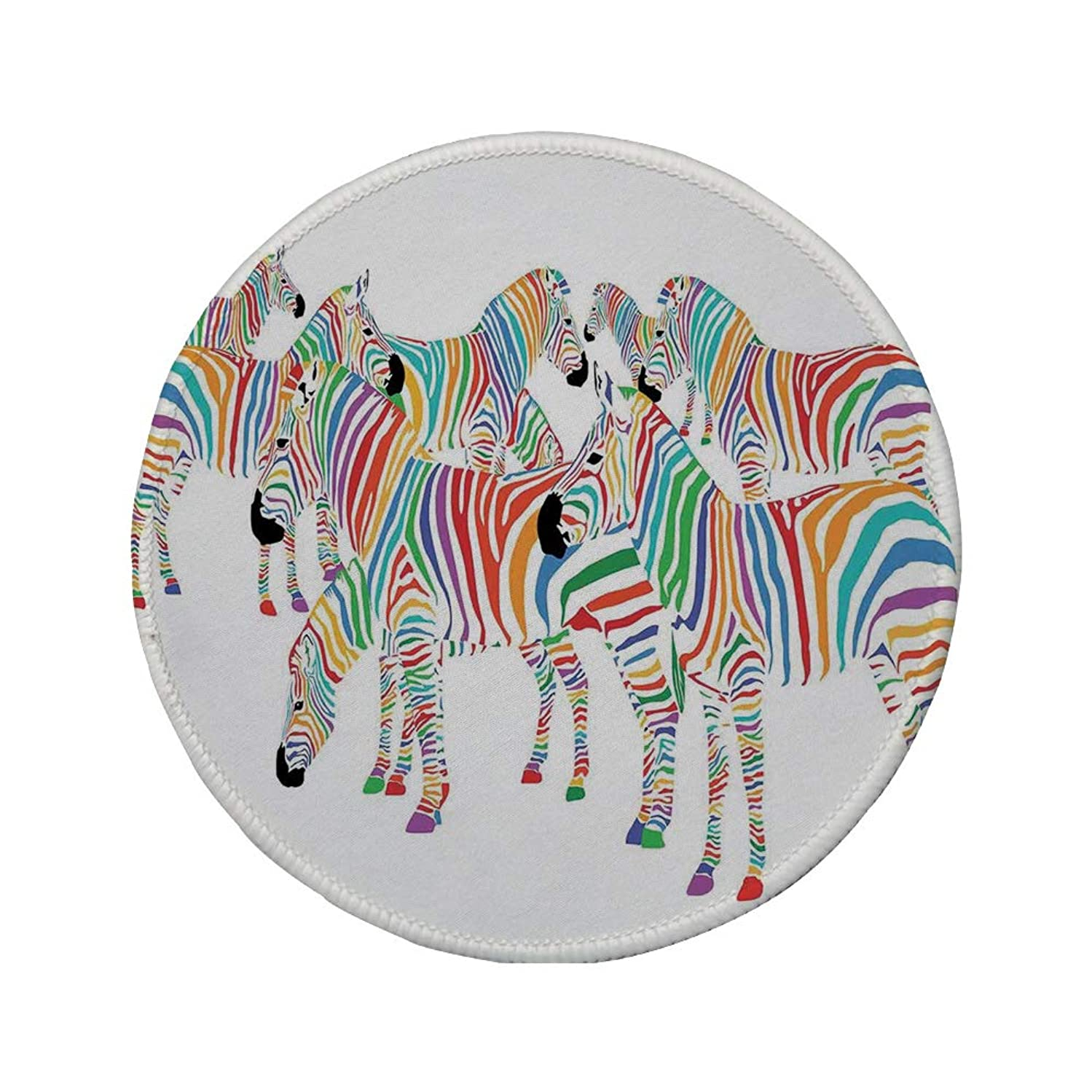 Non-Slip Rubber Round Mouse Pad,Funny,Colorful Cute Animal Herd with Rainbow Stripes Figure Digital Art Print Modern Safari,Multicolor,11.8