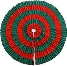 E-FirstFeeling Christmas Tree Skirt 48 Inch Ruffled Edge Xmas Tree Decor Holiday Christmas Decorations (Green-Red)